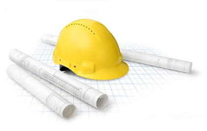helm met bouwtekeningen